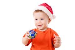 Bebê de sorriso com decoração do Natal fotografia de stock royalty free
