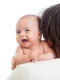 Bebê de sorriso com seu paizinho isolado no branco Foto de Stock