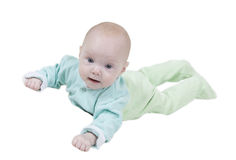 Bebê de sorriso no fundo branco Fotos de Stock Royalty Free