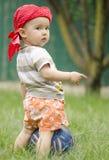 Bebê de Sweer com um futebol Fotos de Stock Royalty Free