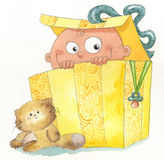 Bebê dentro de uma caixa de presente Fotos de Stock