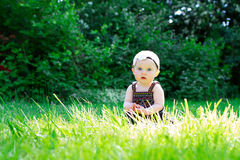 Bebê do bebê de seis meses fora Fotos de Stock