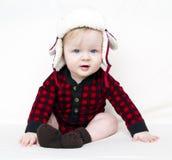 Bebê do Natal com camisa e o chapéu vermelhos Imagens de Stock Royalty Free