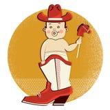 Bebê do vaqueiro na bota ocidental Imagem de Stock