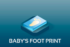 Bebê do vetor simples e ícones isométricosde PregnancyPegada do bebê Ícone isométrico do estilo do símbolo do vetor Imagens de Stock Royalty Free