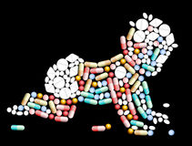Bebê dos comprimidos das tabuletas Foto de Stock