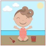 Bebê dos desenhos animados feliz na praia Foto de Stock