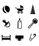 Bebê e ícones criançolas Imagem de Stock Royalty Free