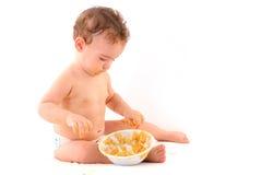 Bebê e alimento Imagem de Stock Royalty Free