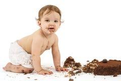 Bebê e bolo de aniversário Fotografia de Stock Royalty Free