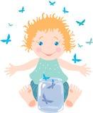 Bebê e borboletas Imagem de Stock