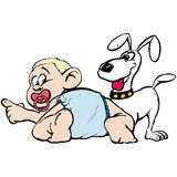 Bebê e cão ilustração do vetor