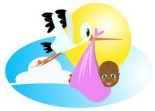 Bebê e cegonha pretos Imagem de Stock Royalty Free