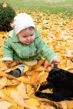 Bebê e gato imagens de stock