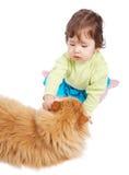 Bebê e gato Imagem de Stock Royalty Free
