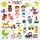 Bebê e menino com ícones do brinquedo do bebê EPS Imagens de Stock