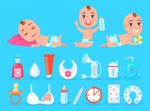 Bebê e objetos para a ilustração do vetor do cuidado da criança ilustração do vetor