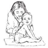 Bebê e pediatra, escutando com estetoscópio, garatuja tirada mão, esboço ilustração stock