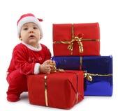Bebê e presente do Natal foto de stock royalty free