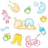 Bebê e suas coisas Fotografia de Stock Royalty Free