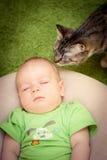 Bebê e um gato Fotos de Stock Royalty Free