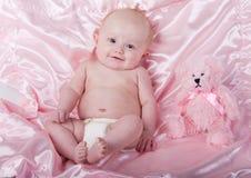Bebê e urso Fotografia de Stock