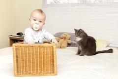 Bebê em casa com gato Fotos de Stock Royalty Free