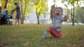 Bebê em Panamá furioso, acenando seus braços e rastejamento Parque exterior vídeos de arquivo