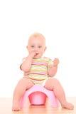 Bebê em potty fotografia de stock