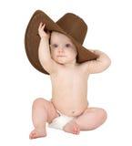 Bebê em um fundo branco com chapéu de cowboy Fotos de Stock