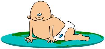 Bebê em um globo do mundo ilustração do vetor