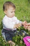 Bebê em um gramado Imagens de Stock Royalty Free