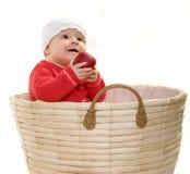 Bebê em uma cesta. imagens de stock royalty free