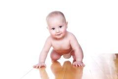 Bebê encantador 6 meses velho no tecido Imagem de Stock Royalty Free