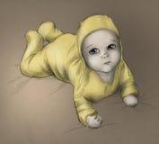 Bebê - esboço desenhado mão - cor Fotografia de Stock