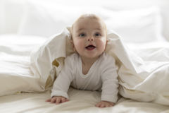 Bebê feliz bonito de 7 meses no tecido que encontra-se e que joga Fotografia de Stock Royalty Free