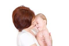Bebê feliz com matriz imagens de stock
