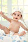 Bebê feliz com tampão imagens de stock