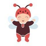 Bebê feliz ereto do joaninha no traje Foto de Stock Royalty Free