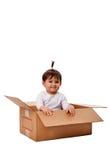 Bebê feliz na caixa da surpresa Imagens de Stock