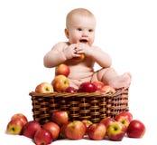Bebê feliz na cesta com maçãs fotos de stock
