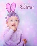 Bebê feliz na Páscoa imagem de stock