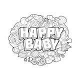 Bebê feliz - rotulação da mão e esboço dos elementos das garatujas Foto de Stock