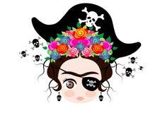 Bebê Frida Kahlo de Emoji com coroa e das flores coloridas, ícone Emoji do pirata, vetor isoladas ilustração stock