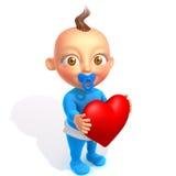 Bebê Jake com ilustração do coração 3d dos Valentim Imagem de Stock