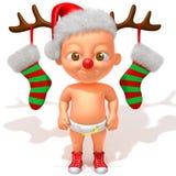 Bebê Jake com ilustração dos chifres 3d da rena do Natal Imagem de Stock