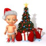 Bebê Jake Santa Claus com ilustração da árvore de Natal 3d Fotografia de Stock
