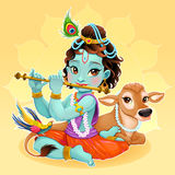 Bebê Krishna com vaca sagrada ilustração royalty free
