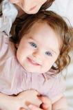 Bebê-menina-feche-acima Fotos de Stock Royalty Free