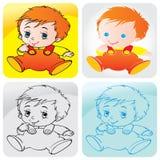 Bebê-menino-infante-assento ilustração do vetor